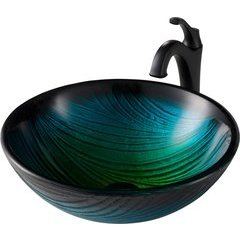 17 Inch Natureâ?¢ Vessel Sink with Faucet - Green/Matte Black