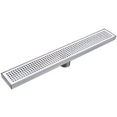 "30"" Pattern Grate Linear Shower Drain with 2"" Outlet - Stainless Steel"