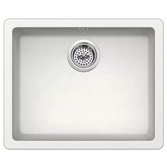 "Carolina 22"" Single Basin Drop In or Undermount Granite Composite Kitchen Sink - Basket Strainer Included - Ivory"