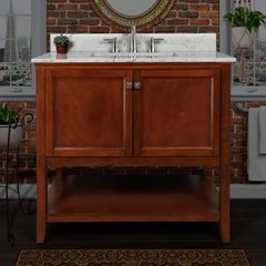 """Pescara 36"""" Free Standing Vanity Set with Wood Cabinet, Natural Stone Top, and Undermount Sink - Mirror Sold Separately - Chestnut / Carrara White Top"""