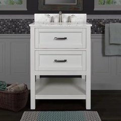 "Rimini 24"" Free Standing Vanity Cabinet with Wood Cabinet, Natural Stone Top, and Undermount Sink - Mirror Sold Separately - White / Carrara White Top"