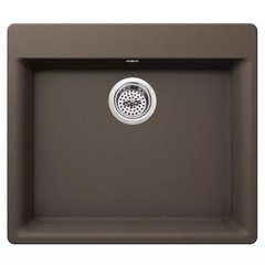 "Carolina 24"" Single Basin Drop In or Undermount Granite Composite Kitchen Sink - Basket Strainer Included - Brown"