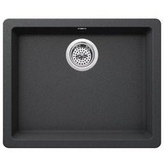 "Carolina 22"" Single Basin Drop In or Undermount Granite Composite Kitchen Sink - Basket Strainer Included - Gray"