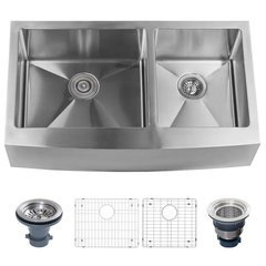 "Farmhouse 36"" Double Basin Stainless Steel Kitchen Sink with Apron Front with 60/40 Split - Drain Assemblies and Fitted Basin Racks Included Free - St"