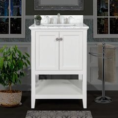 "Pescara 24"" Free Standing Vanity Set with Wood Cabinet, Natural Stone Top, and Undermount Sink - Mirror Sold Separately - White / Carrara White Top"
