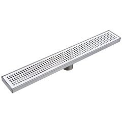 "48"" Pattern Grate Linear Shower Drain with 2"" Outlet - Stainless Steel"