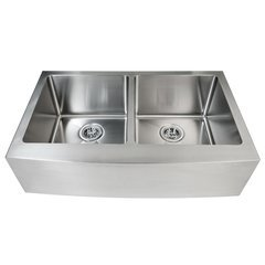 "32-7/8"" Apron Front Farmhouse Double Basin Stainless Steel Kitchen Sink with 50/50 Split - Drain Assemblies, Basin Racks and Maintenance Kit Included"