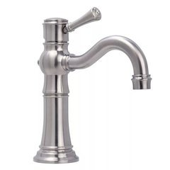 Santi-V Single Hole Bathroom Faucet Solid Brass Push-Pop Drain - Brushed Nickel