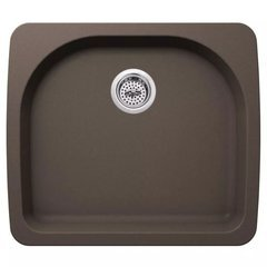 "Carolina 25"" Single Basin Drop In or Undermount Granite Composite Kitchen Sink - Basket Strainer Included - Brown"