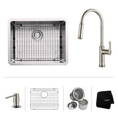 "23"" Undermount Single Bowl Kitchen Sink Package-Stainless"