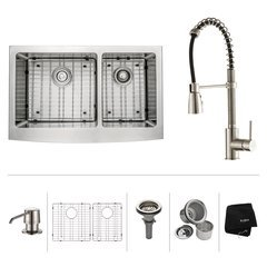 "33"" Farmhouse Double Bowl Kitchen Sink Package-Stainless"