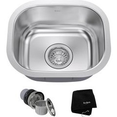 "15"" Undermount Single Bowl Bar Sink Stainless Steel"