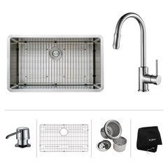 "32"" Undermount Single Bowl Kitchen Sink Package-Chrome"