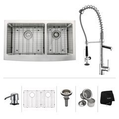 "36"" Farmhouse Double Bowl Kitchen Sink Package-Chrome"