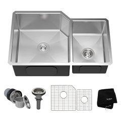 "32"" Undermount Double Bowl Kitchen Sink-Stainless Steel"