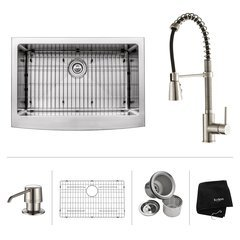 "30"" Farmhouse Single Bowl Kitchen Sink Package-Stainless"