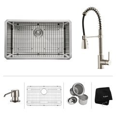 "30"" Undermount Single Bowl Kitchen Sink Package-Stainless"