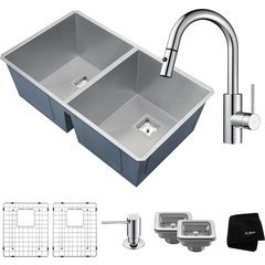 "Pax 31.5"" Undermount Double Bowl Kitchen Sink Package Chrome"