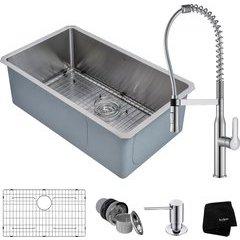 "30"" Undermount Single Bowl Kitchen Sink Package Chrome"
