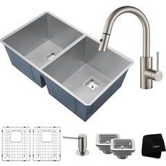 "31.5"" Undermount Double Bowl Kitchen Sink Package Stainless"