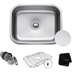 "23"" Undermount Single Bowl Kitchen Sink Stainless Steel"