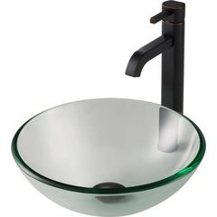 14 Inch Single-Tone Vessel Sink with Faucet - Clear/Oil Rubbed Bronze