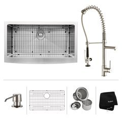 "36"" Farmhouse Single Bowl Kitchen Sink Package-Stainless"