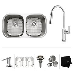 """32"""" Undermount Double Bowl Kitchen Sink Package-Chrome"""