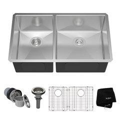 "33"" Undermount Double Bowl Kitchen Sink-Stainless Steel"
