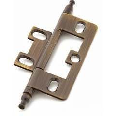 Non-Mortise Hinge with Minaret Tips - Antique Brass