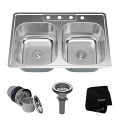 """33"""" Top Mount Double Bowl Kitchen Sink-Stainless Steel <small>(#KTM33)</small>"""
