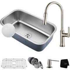 "31-1/2"" Undermount Single Bowl Kitchen Sink Package-Stainles"