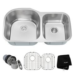 "35"" Undermount Double Bowl Kitchen Sink-Stainless Steel"