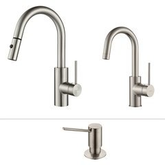 Oletto One Handle Pull-Out Kitchen/Bar Faucet Set Stainless