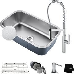 "31.5"" Undermount Single Bowl Kitchen Sink Package Chrome"