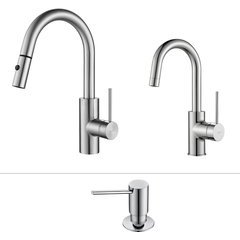 Oletto One Handle Pull-Out Kitchen/Bar Faucet Set Chrome