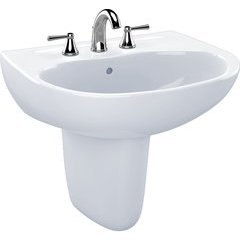 Supreme Oval Wall-Mount Bathroom Sink with CeFiONtect and Shroud for 8 Inch Center Faucets, Cotton White