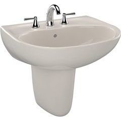Supreme Oval Wall-Mount Bathroom Sink with CeFiONtect and Shroud for 8 Inch Center Faucets, Sedona Beige