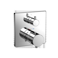 Square Thermostatic Mixing Valve With Two-Way Diverter Shower Trim - Polished Chrome