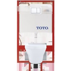 MH Wall-Hung D-Shape Toilet and DuoFit in-wall 0.9 GPF and 1.28 GPF Dual-Flush Tank System with Copper Supply, Cotton White