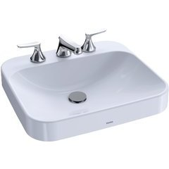 """Arvina Rectangular 20"""" Vessel Bathroom Sink with CeFiONtect for 8 Inch Center Faucets, Cotton White - LT415G.8#01"""