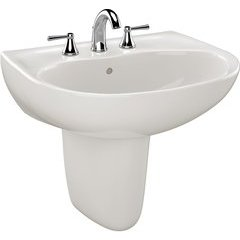 Supreme Oval Wall-Mount Bathroom Sink with CeFiONtect and Shroud for 4 Inch Center Faucets, Colonial White