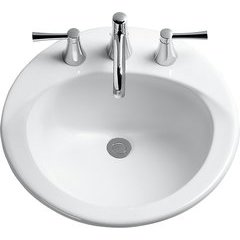Ultimate Round Self-Rimming Drop-In Bathroom Sink with CeFiONtect for 4 Inch Center Faucets, Cotton White