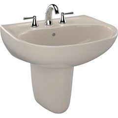 Supreme Oval Wall-Mount Bathroom Sink with CeFiONtect and Shroud for 8 Inch Center Faucets, Bone
