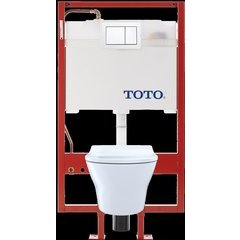 MH Wall-Hung D-Shape Toilet and DuoFit in-wall 0.9 and 1.28 GPF Dual-Flush Tank with Slim Seat and Copper Supply, Cotton White