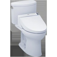 WASHLET+ Kit Drake II Two-Piece Elongated 1.28 GPF Toilet and WASHLET C200 Bidet Seat, Cotton White