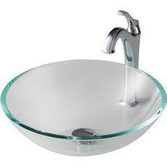 16.5 Inch Single-Tone Vessel Sink with Faucet - Crystal Clear/Chrome