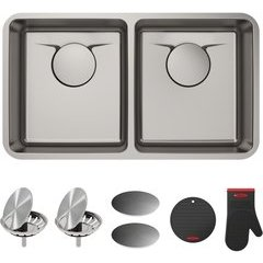 "Dex 33"" Undermount Double Bowl Kitchen Sink Stainless Steel"