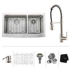 "36"" Farmhouse Double Bowl Kitchen Sink Package-Stainless"
