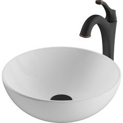 13.69 Inch Elavoâ?¢ Vessel Sink with Faucet - White/Oil Rubbed Bronze